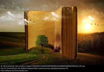 Um livro gigante no meio de um campo, um poente dourado, o livro está aberto