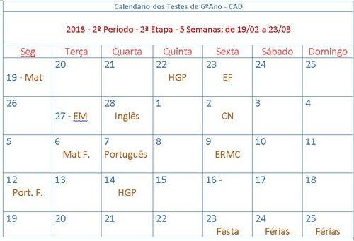 calendario dos testes de 6 anos