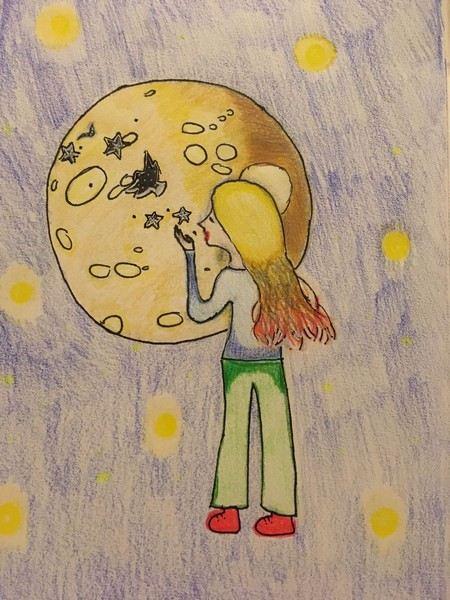 uma menina ue olha para o céu e tem uma enorme estrela à sua frente