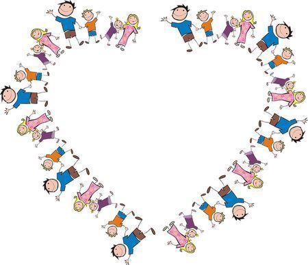 bonecos representando famílias e formando um coração