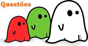 três fantasminhas branco, verde e vermelho
