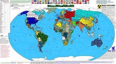 mapa mundi, a cores, com o azul forte para os oceanos