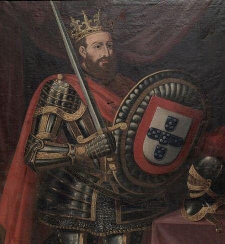 quadro antigo de d Afonso Henriques com o escudo das cinco quinas e a espada