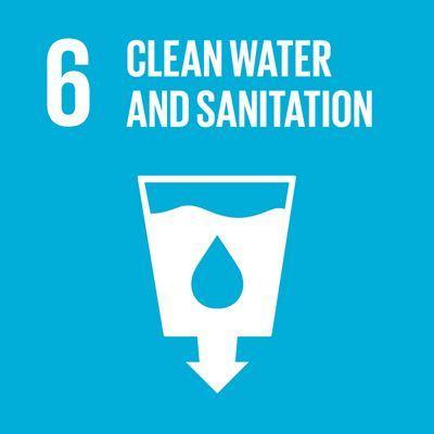 símbolo da meta seis, água limpa e sanitários, recipiente branco contra fund ozul