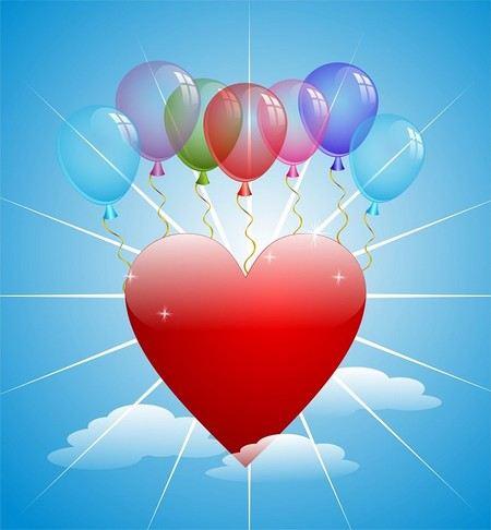 Um coração desenhado, contra um fund oazul de céu com pequenas nuvens brancas e corodado de balões de festa coloridos