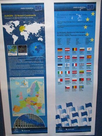 mapa e gráfico com países da europa, as suas bamceiras
