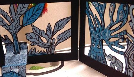 recortes da floresta encantada em papel tons de azul
