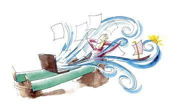 desenho de homem deitado a dormir com um computador ao colo de onde saem toda a espécie de sonhos